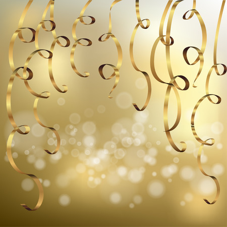 beauty birthday: Elegant bokeh background with golden ribbons Illustration
