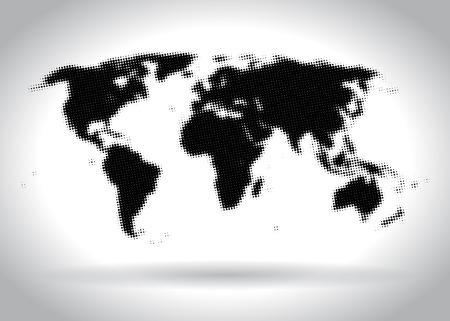illustrated globe: Halftone world map illustration