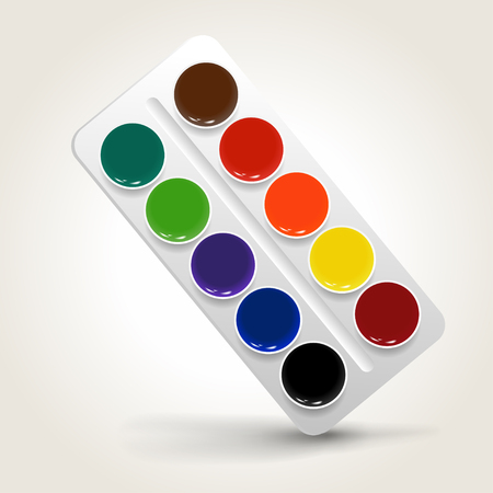Watercolor paints in a box illustration