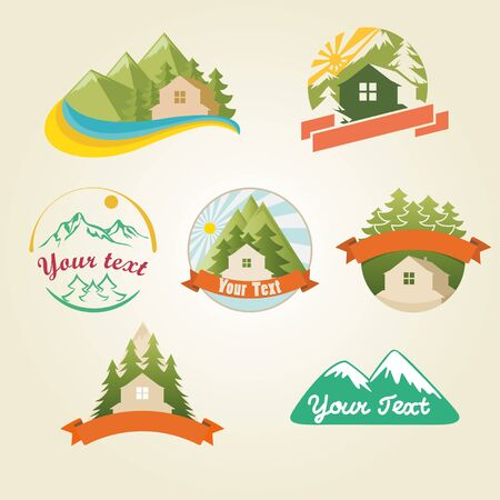 Mountain house collection illustration