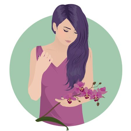wedding dress back: Hipster girl with beautiful hair and orchid flower Illustration