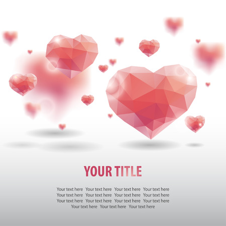 hearts background: Abstract background with geometric hearts Illustration
