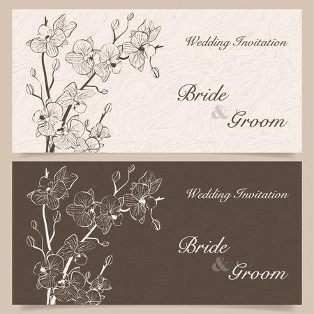 蘭の花の結婚式の招待状のセット