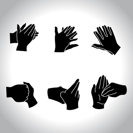 hand silhouette: Hands positions for washing procedure
