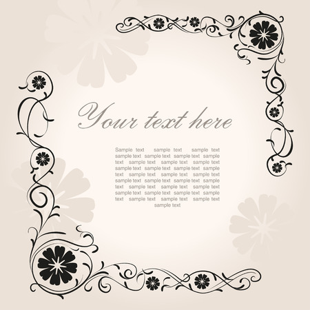 vintage pattern: Beautiful vintage floral corner with place for text