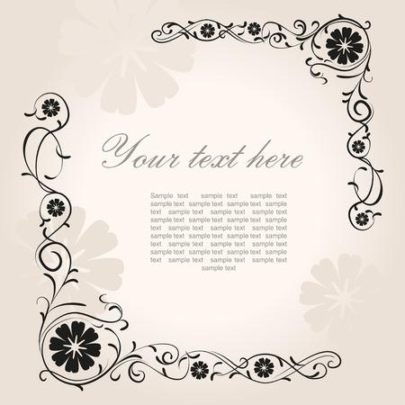 borde de flores: Esquina floral del vintage hermoso con lugar para el texto