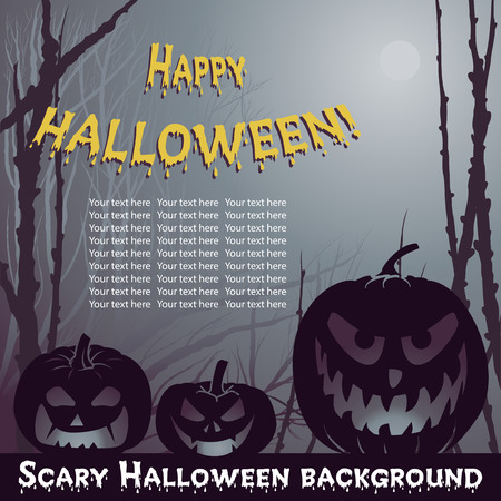 scary forest: Vector Halloween background with scary pumpkins in night forest Illustration