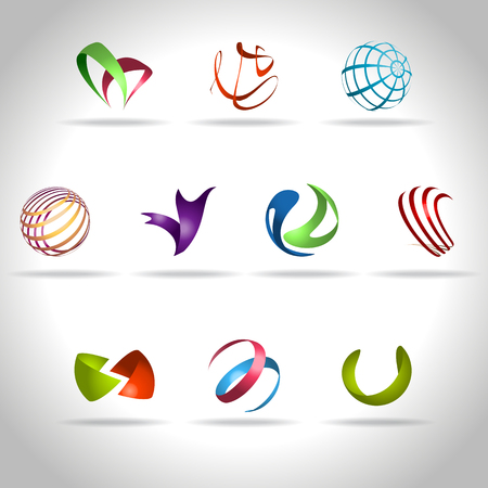 technologia: Streszczenie logo i ikon internetowej próbka, wektor illusration Ilustracja