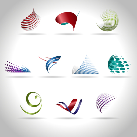 기술: 추상 웹 아이콘과 로고 샘플, 벡터 illusration 일러스트