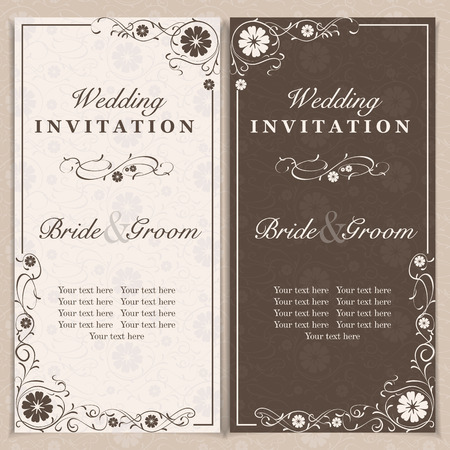 invitation cards: Set of wedding invitation cards with orchid flower, vector illustration