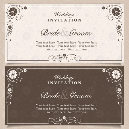 card: Set of wedding invitation cards with orchid flower, vector illustration
