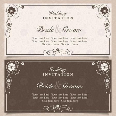 background design: Set of wedding invitation cards with orchid flower, vector illustration