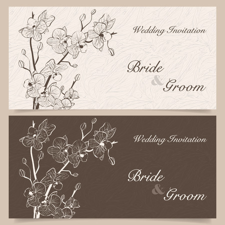 orchid: Set of wedding invitation cards with orchid flower, vector illustration