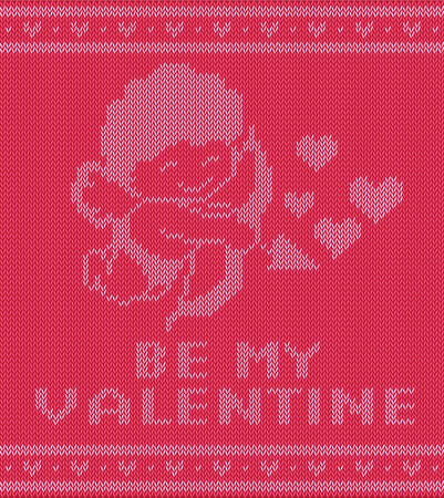 Valentine Day Knitting Pattern With Cupidon Vector Illustration
