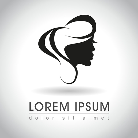 Bella campione logo fronte della donna, illustrazione vettoriale