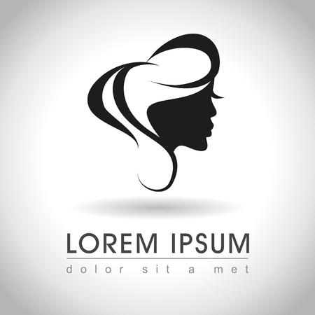 Beautiful woman face logo sample, vector illustration Stock Illustratie