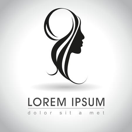 peluquerias: Mujer hermosa cara logotipo de la muestra, ilustración vectorial
