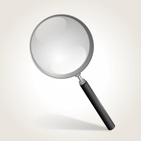 len: Magnifying glass isolated on white, vector illustration