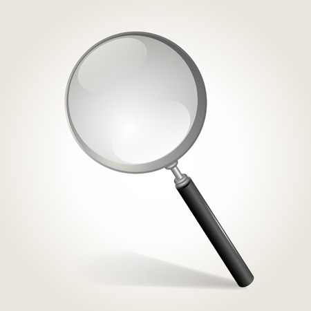 Magnifying glass isolated on white, vector illustration