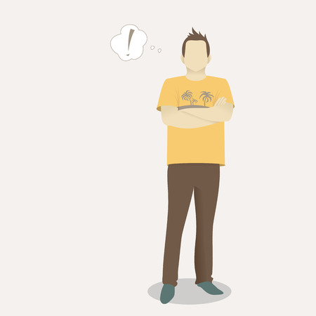 casual business man: Young casual business man finding an idea Illustration