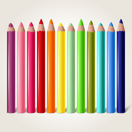 palette: Set of colored pencils isolated on white, vector illustration