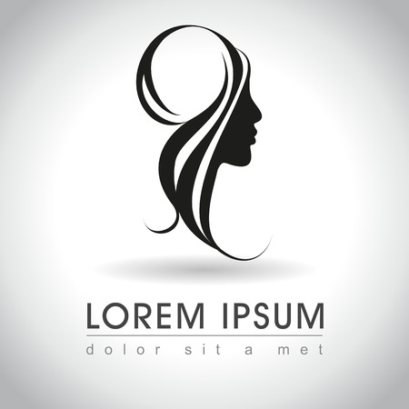 Beautiful woman face logo sample, vector illustration Иллюстрация