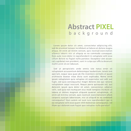 Abstract green pixel mosaic background, vector illustration