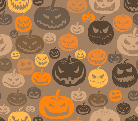 brown background: Vector seamless Halloween pattern with set of scary pumpkins
