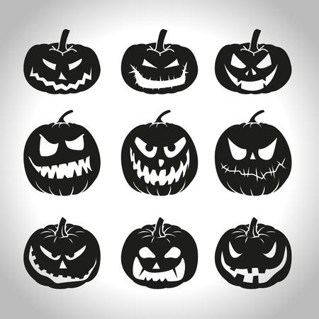 calabaza caricatura: Conjunto de calabazas de Halloween aislados en blanco Vectores