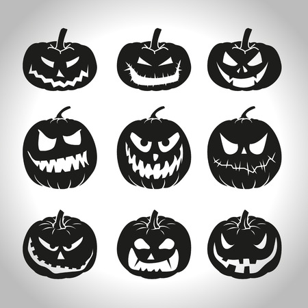 scary pumpkin: Set of Halloween pumpkins isolated on white