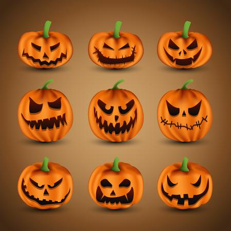 halloween scary: Set of Scary Halloween Pumpkins, vector illustration Illustration