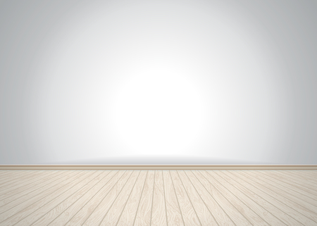 Empty room with wooden floor, vector illustration Çizim