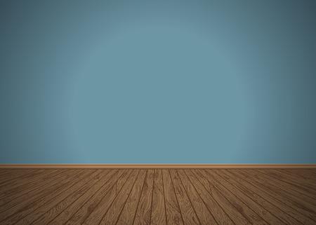 Empty room with wooden floor, vector illustration Stock Illustratie