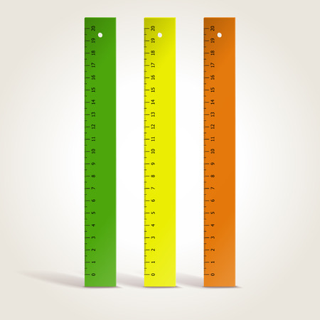 rules: Set of colorful school rulers isolated on white, vector illustration