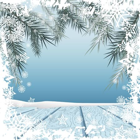 hoarfrost: Winter background. Winter snow landscape with wooden table in front. Vector illustration