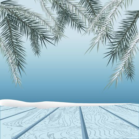 rime frost: Winter background. Winter snow landscape with wooden table in front. Vector illustration