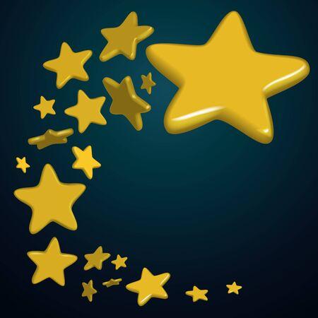 flying Golden stars on blue background, vector illustration Stock Illustratie
