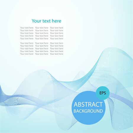 green  wave: Abstract smoke on light blue background, vector illustration
