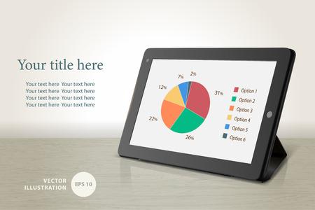 tableta: Vector tablet počítač na stůl pozadí, vektorové ilustrace