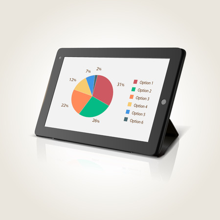 Modern black tablet pc with chart pie on screen, vector illustration
