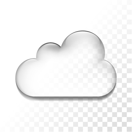 Transparent glossy cloud isolated icon, vector illustration
