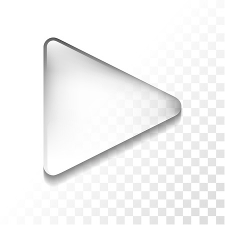 play button: Transparent glossy play isolated icon, vector illustration