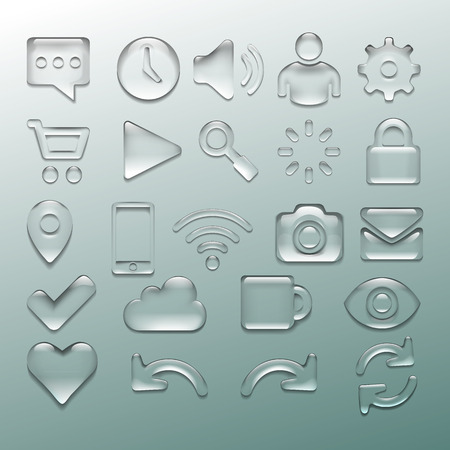 Transparent glossy isolated icon set, vector illustration