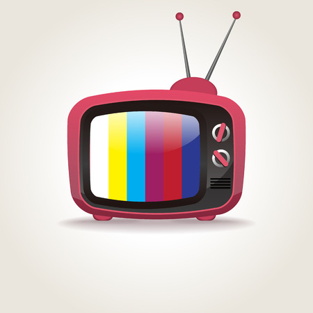 Retro TV set icon isolated on white, vector illustration 일러스트