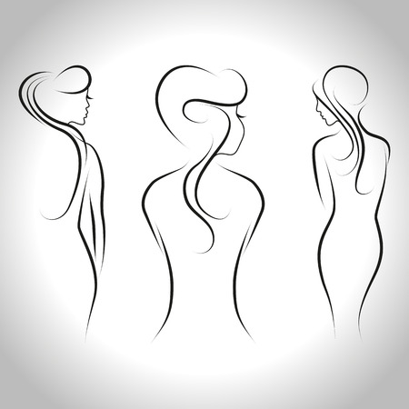 naked female body: Abstract set of three beautiful women standing back. Vector outline illustration Illustration