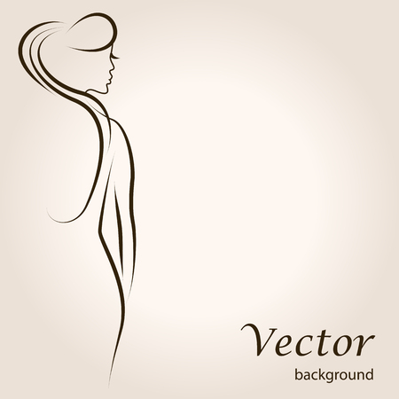 nude: Abstract outline background with beautiful young woman standing back. Sketch vector artwork