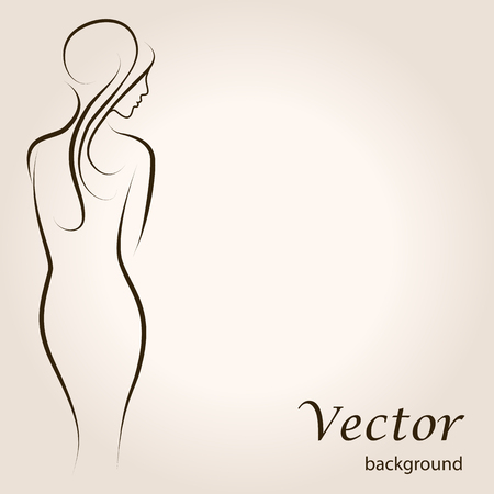 Abstract outline background with beautiful young woman standing back. Sketch vector artwork
