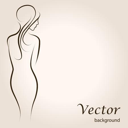 chica desnuda: Fondo esquema abstracto con hermosa mujer joven de pie espalda. Ilustraciones del vector del bosquejo
