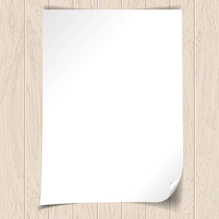 Weißes Papier auf dem hölzernen Hintergrund, Vektor-Illustration