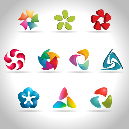 connection connections: Set of abstract colorful web icons, vector illustration